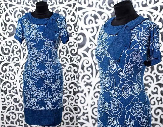 """Красивое женское платье с флористическим принтом ткань """"Масло+трикотаж"""" 50, 52, 54, 56 размеры батал, фото 2"""
