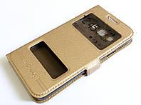 Чехол книжка с окошками momax для Samsung Galaxy A3 A300 (2015) золотой
