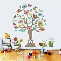 """Наклейка на стену в детскую комнату """"зайка в дупле дерева"""" 92*95см (лист 60*90см)"""