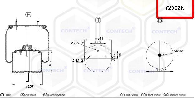 Пневмоподушка (с мет стаканом) GIGANT 2 шпильки-отверстие, стакан на 1 центр. отв. 725NP02, W01M588969,