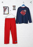 Пижама Disney Superman Лонгслив + Брюки + Пенал с наклейками, 7-8 и 11-12 лет