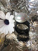Кольцо с жемчугом черное