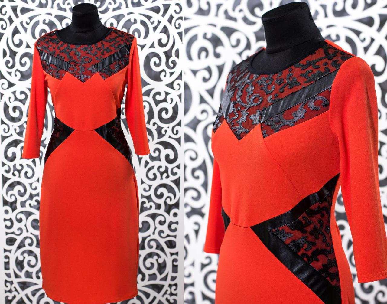"""Шикарное женское платье с элементами из эко-кожи ткань """"Креп-трикотаж"""" 48 размер батал"""