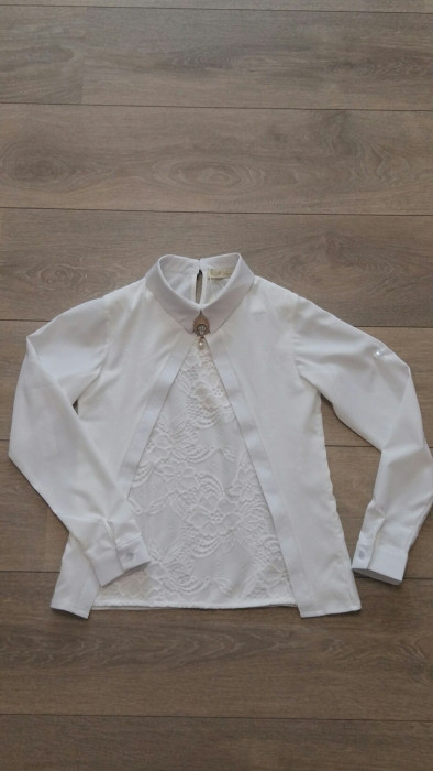 c67a799c477 Блузка Школьная Молочная на Девочку 10-11-12-13-14 Лет
