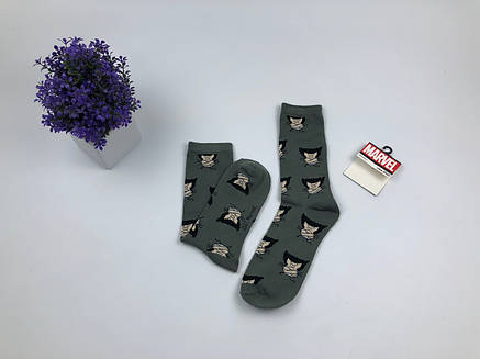 Носки Marvel pattern Росомаха (серые), фото 2
