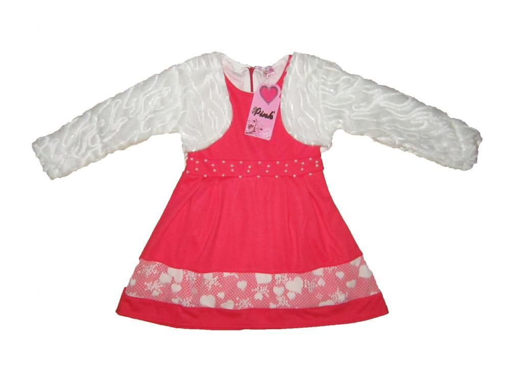 Платье детское трикотажное+болеро. Pink 1119