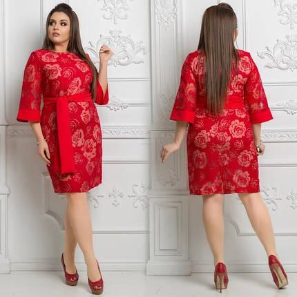 """Сказочное женское платье с Цветочным принтом """"органза-лен"""" 48, 50, 52 размер баталы, фото 2"""