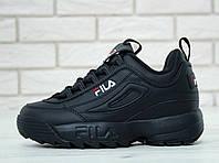 Кроссовки мужские кожаные черные модные FILA Disruptor II Full Black Новинка 2018
