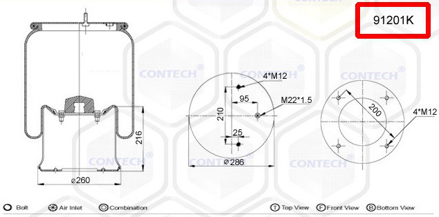 Пневмоподушка (с мет стаканом) SAF 2926V 2 шпильки-воздух, W01M588502, 912NP01, 08422171 (3229003000 | 91201K)