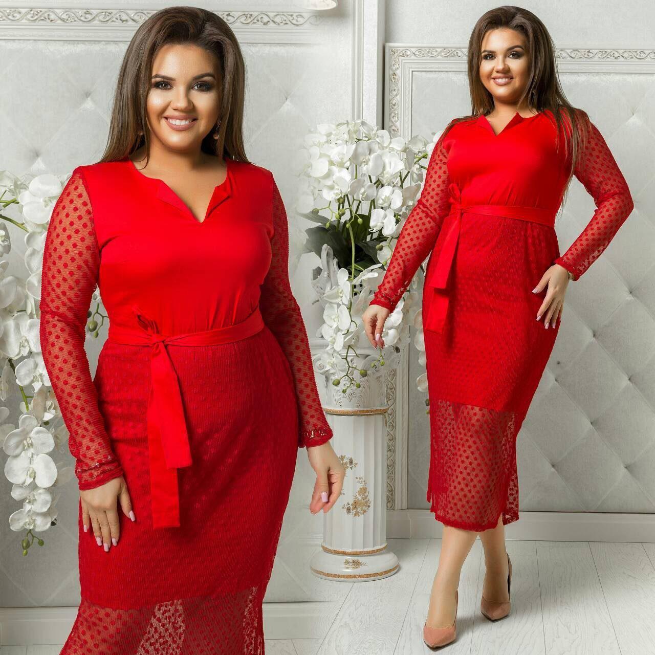 """Стильное женское платье ткань """"Коттон"""" с сеткой гофре красный 48, 50, 52, 54 размер батал"""
