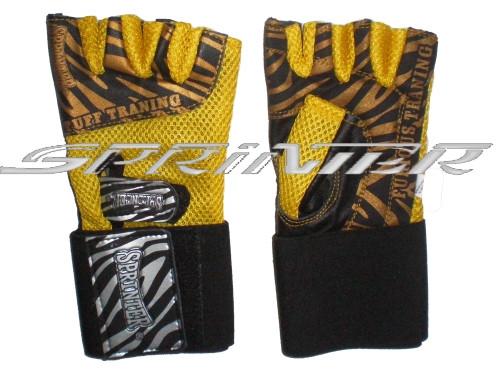 Перчатки тренировочные для тяжёлой атлетики. Цвет жёлтый.М