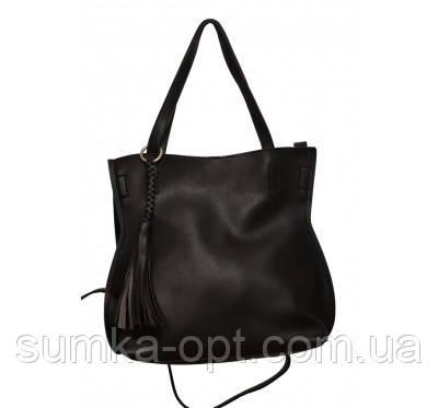 Женская сумка шопер эко кожа (черный)30*28