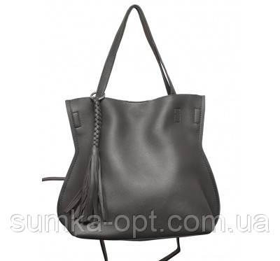 Женская сумка шопер эко кожа (серый)30*28
