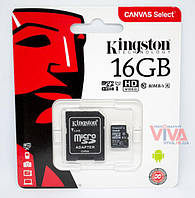 Карта памяти microSD Kingston 16 GB class 10 UHS-I + Adapter Canvas Select U1 (R80/W10)