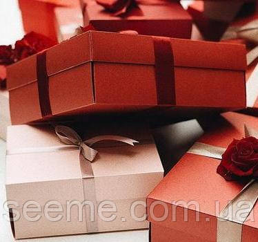 Коробка подарочная 200х200х70 мм, цвет перламутровый бордо