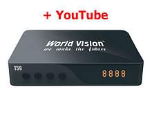 T2 тюнер + YouTube - World Vision T59 после ремонта