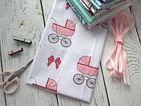 Ткань Хлопок, 40*50 см, Колясочки розовые