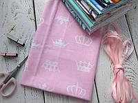 Ткань Хлопок, 40*50 см, Короны на розовом