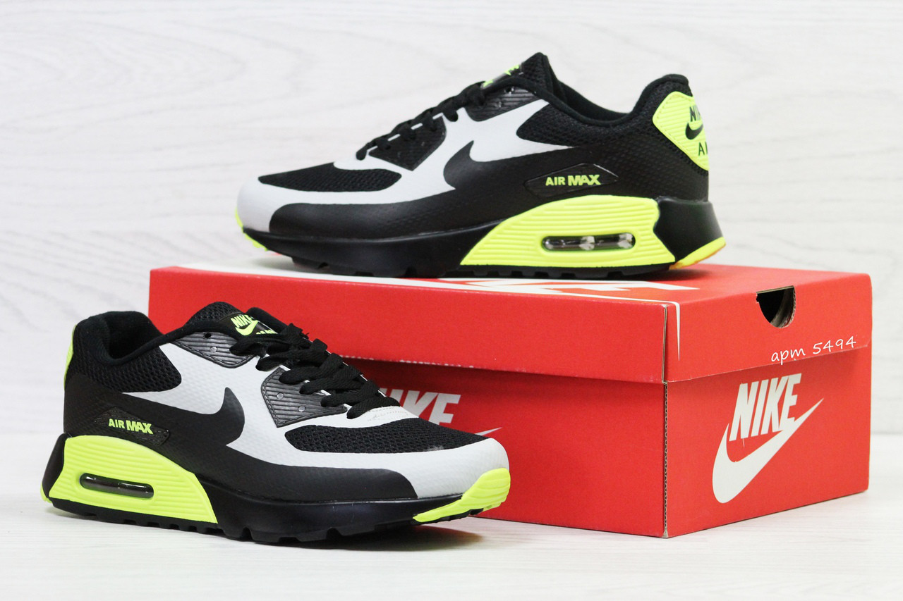 Кроссовки в стиле Nike Air Max (черные с салатовым) кроссовки найк nike  5494 7ddeddc288207