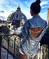 Женская крутая джинсовка с рваной спинкой (2 цвета), фото 1