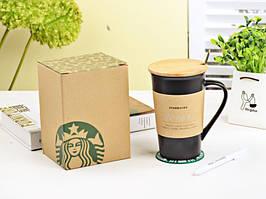 Керамическая чашка Starbucks с маркером белая внутри Подарочная картонная упаковка Код: КГ4912