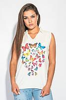 Блузка женская с бабочками 459F001-2 (Молочный)