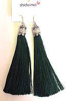 Серьги-кисточки, зеленые, элитные