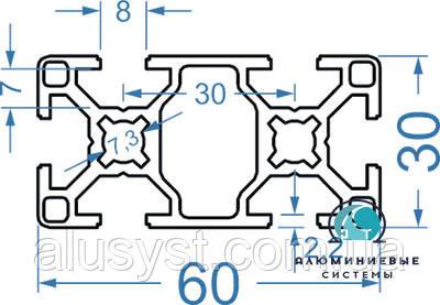 Станочный профиль | Конструкционный, без покрытия, 30х60