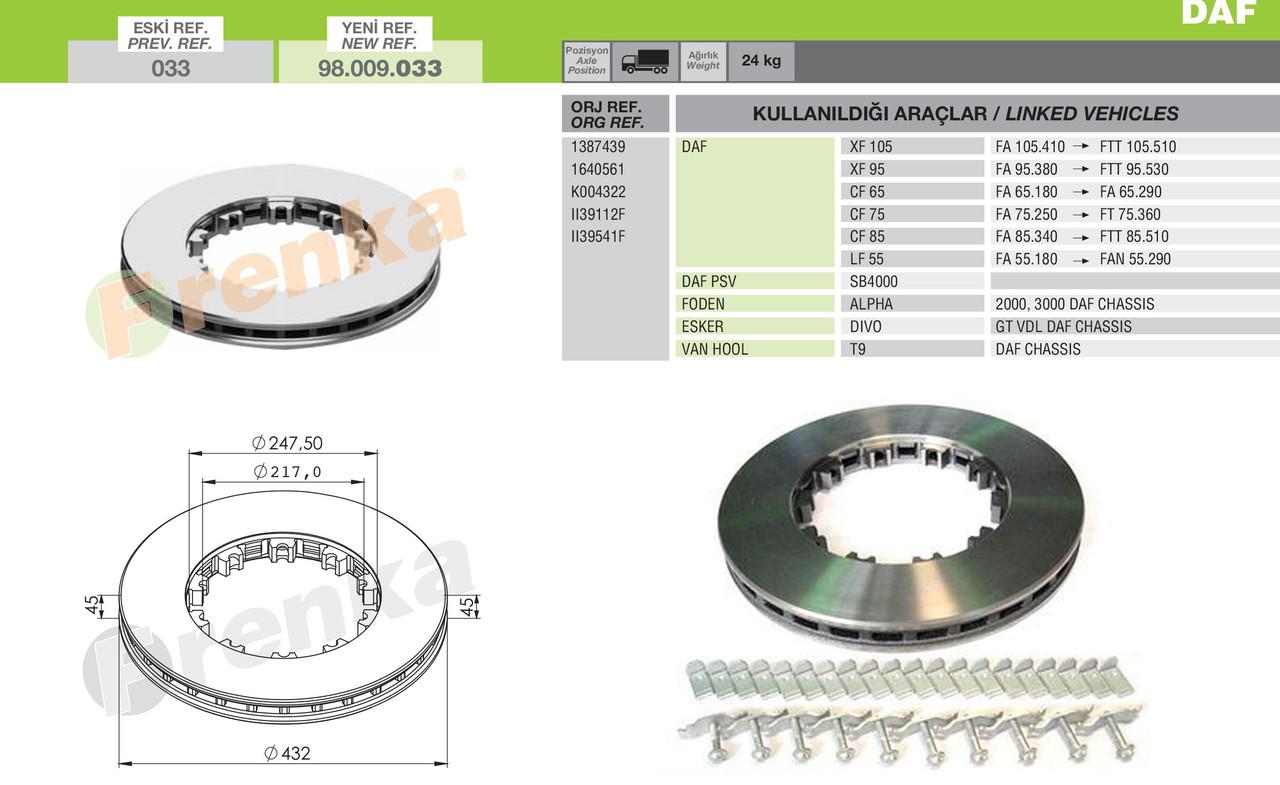 Диск тормозной DAF XF105, XF95 вент. передн/задн с монтажным комплектом! под клин (1387439 | 98.009.033-FR)
