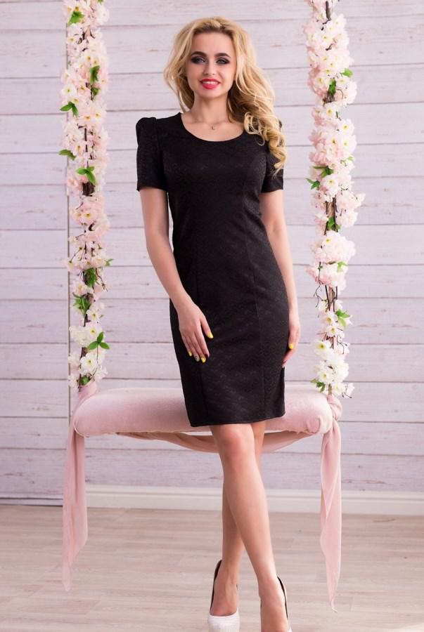 9655b4bfb2c Элегантное Черное Платье с Брошкой Д-1379 — в Категории