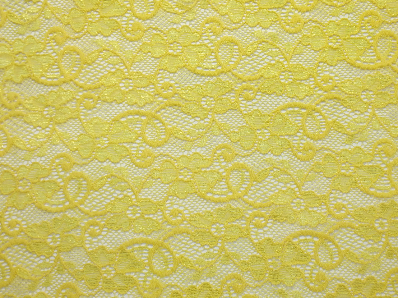 Гипюр стрейчевый цветочная сказка, желтый