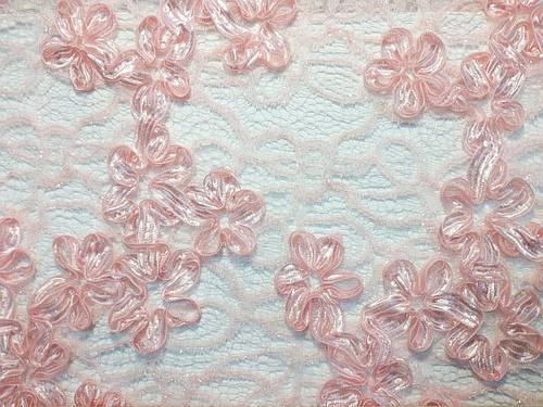 Ткань гипюр ленточка цветочный ансамбль 3д, пудра
