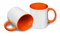 Чашка сублимационная оранжевая 330мл (цветная внутри и цветная ручка)