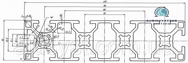Верстатний профіль | Конструкційний, без покриття, 30х120