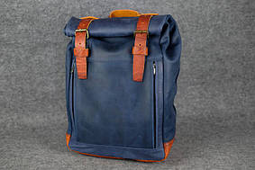 Мужской рюкзак HANKLE H7 |13242| Синий+Коньяк