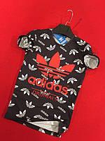 Футболка мужская в стиле adidas Originals, материал - 100% хлопок, черная с принтом. код MP-1012