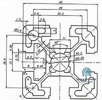 Станочный профиль ЧПУ станка| анод , 40х40
