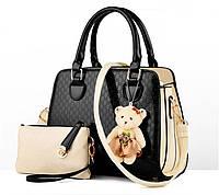 Стильная женская сумка Valenkuci черный с косметичкой и брелком