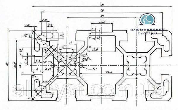 Станочный профиль ЧПУ станка| анод , 40х80