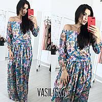 Длинное летнее платье в пол из шифона с цветами