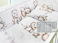 Набор в детскую кроватку из 6 предметов Сердечка постель мягкие бортики большое одело 140х100 подушка 4148