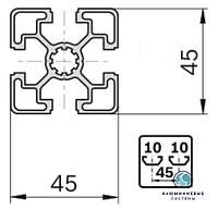Станочный профиль ЧПУ станка  анод , 45х45