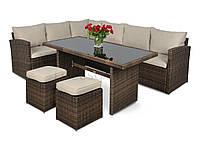Уголок Technorattan с пуфами, большой стол Каприса, фото 1