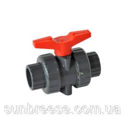 Шаровый кран промышленный с красной ручкой PVC/PTFE/EPDM DN65 (d.75 mm)