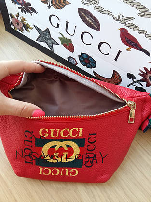 Сумка на пояс бананка Gucci красная, фото 2
