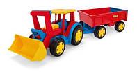 Большой игрушечный трактор Гигант с прицепом и ковшом (66300)