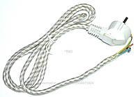 Сетевой кабель универсальный для утюга в тканевой оплетке.L=1,4m,16A/250V.