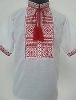 Дитяча вишиванка для хлопчика на короткий рукав з червоною вишивкою Батист c3d9b90e38024