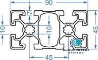 Станочный профиль | Конструкционный, без покрытия, 45х90