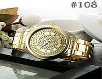 Женские кварцевые наручные часы / годинник  Geneva золотистого цвета с металическим браслетом (108)